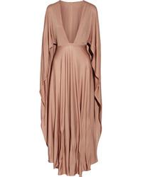 Robe longue en soie brune claire Valentino