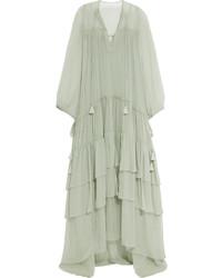 Robe longue en soie verte menthe Chloé