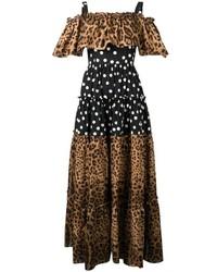 Robe longue imprimée léopard brune Dolce & Gabbana