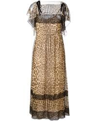 Robe longue imprimée léopard brune RED Valentino