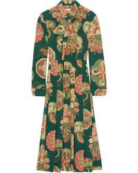 Robe midi en soie plissée verte Gucci