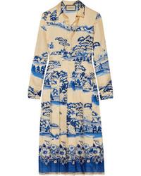 Robe midi plissée bleue claire Gucci