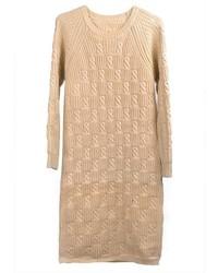 Robe-pull en tricot beige
