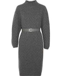 Robe-pull en tricot grise foncée Fendi