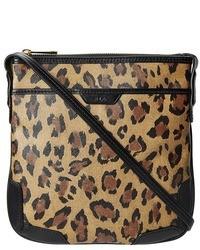 Sac bandoulière en cuir imprimé léopard brun Lauren Ralph Lauren