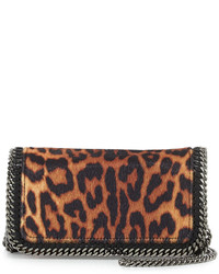 Sac bandoulière en cuir imprimé léopard brun Stella McCartney