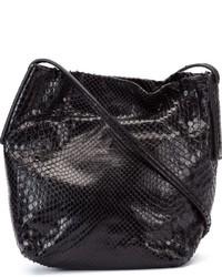 Sac bandoulière en cuir imprimé serpent noir Rick Owens
