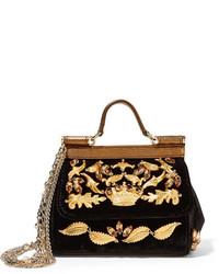 Sac bandoulière en cuir orné noir Dolce & Gabbana