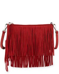 Sac bandoulière en daim à franges rouge Rebecca Minkoff