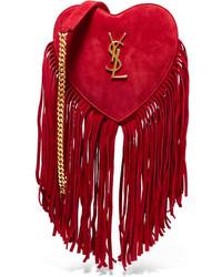 Sac bandoulière en daim à franges rouge Saint Laurent