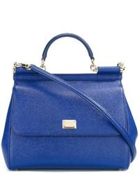 Sac fourre-tout en cuir bleu Dolce & Gabbana