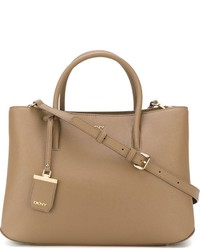 Sac fourre-tout en cuir brun clair DKNY