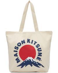 Sac fourre-tout en toile imprimé blanc MAISON KITSUNE