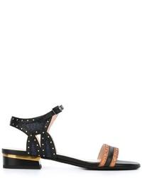 Sandales à talons en cuir à clous noires Lanvin