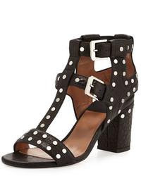 Sandales à talons en cuir à clous noires Laurence Dacade