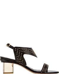 Sandales à talons en cuir à clous noires Nicholas Kirkwood