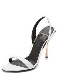 Sandales à talons en cuir blanches Versace