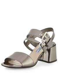 Sandales à talons en cuir épaisses argentées Prada