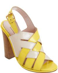 Sandales à talons en cuir jaunes Opening Ceremony