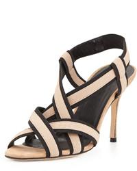Sandales à talons en cuir noires et brunes claires Manolo Blahnik