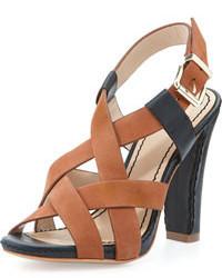 Sandales à talons en cuir noires et brunes claires Pour La Victoire