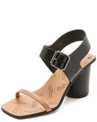 Sandales à talons en cuir noires et brunes claires