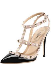Sandales à talons en cuir noires et brunes claires Valentino