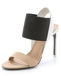 Sandales à talons en cuir noires et brunes claires Vince