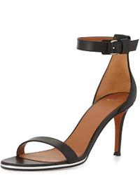 Sandales à talons en cuir noires Givenchy