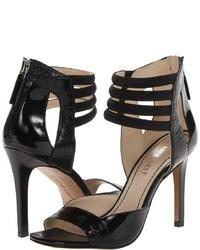 Sandales à talons en cuir noires Nine West