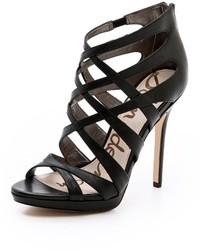 Sandales à talons en cuir noires Sam Edelman