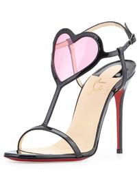 Sandales à talons en cuir rouges et noires