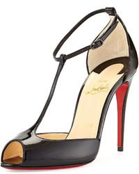 Sandales à talons en cuir rouges et noires Christian Louboutin