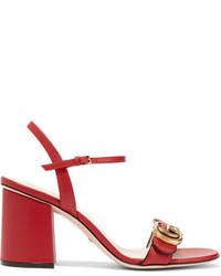 Sandales à talons en cuir rouges Gucci