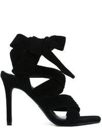Sandales à talons en daim noires Senso