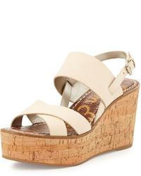 Sandales compensées en cuir beiges Sam Edelman