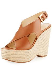 Sandales compensées en cuir brunes claires MICHAEL Michael Kors