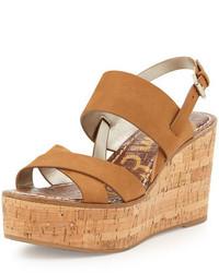 Sandales compensées en cuir brunes claires Sam Edelman