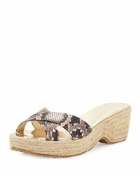 Sandales compensées en cuir imprimées serpent roses Jimmy Choo