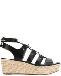 Sandales compensées en cuir noires MICHAEL Michael Kors