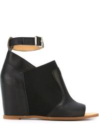 Sandales compensées en cuir noires MM6 MAISON MARGIELA