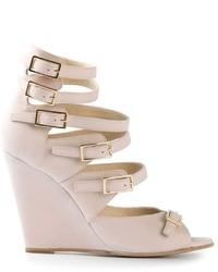 Sandales compensées en cuir roses Chloé