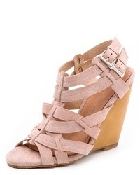 Sandales compensées en cuir roses Madison Harding