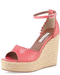 Sandales compensées en cuir roses Tabitha Simmons