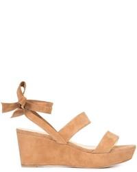 Sandales compensées en daim brunes claires Alexandre Birman