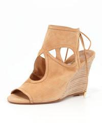 Sandales compensées en daim brunes claires Aquazzura