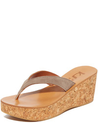 Sandales compensées en daim brunes claires K. Jacques