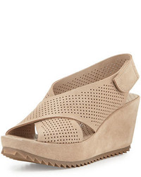 Sandales compensées en daim brunes claires Pedro Garcia