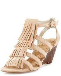 Sandales compensées en daim brunes claires Sam Edelman
