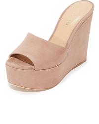 Sandales compensées en daim brunes claires Sergio Rossi